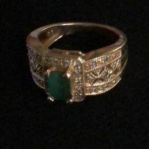 14k SZ6 Emerald and Diamond Ring
